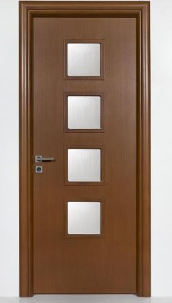 Eσωτερική πόρτα  ανιγκρέ με τζαμάκια