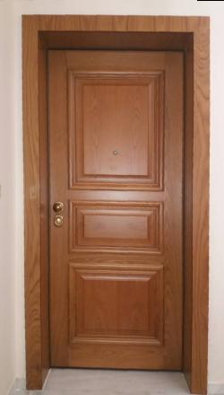 Πόρτα ασφαλείας   με χειροποιητη επένδυση  Δρυς